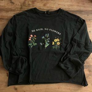 No Rain, No Flowers Crop Black Tee